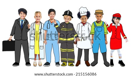 Multiethnic Group of Children with Future Career in Photo and Illustration - stock photo