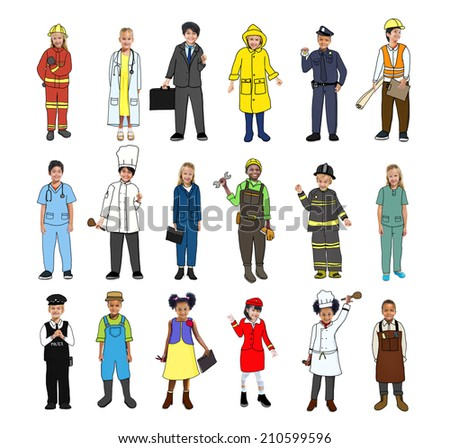 Multiethnic Group of Children with Various Occupations Concept - stock photo