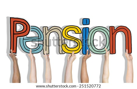 Multiethnic Group of Hands Holding Letter Pension - stock photo