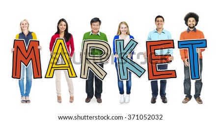 Multiethnic Group of People Holding Letter Market Concept