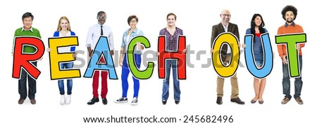 Multiethnic Group of People Holding Letter Reach Out - stock photo