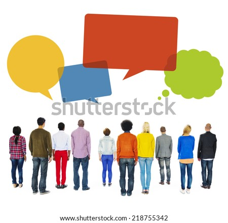 Multiethnic Group of People Turn Back with Speech Bubbles