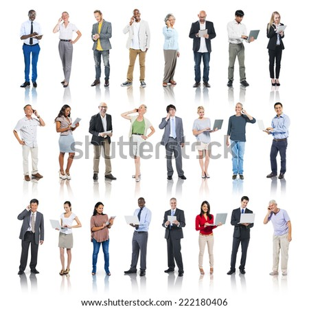 Multiethnic Group of People with Digital Devices - stock photo