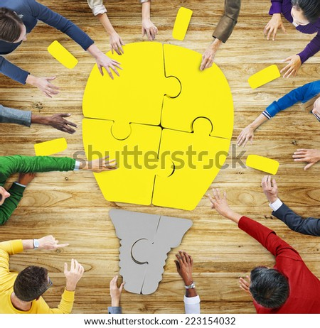 Multiethnic Group of People with Light Bulb in Photo and Illustration - stock photo