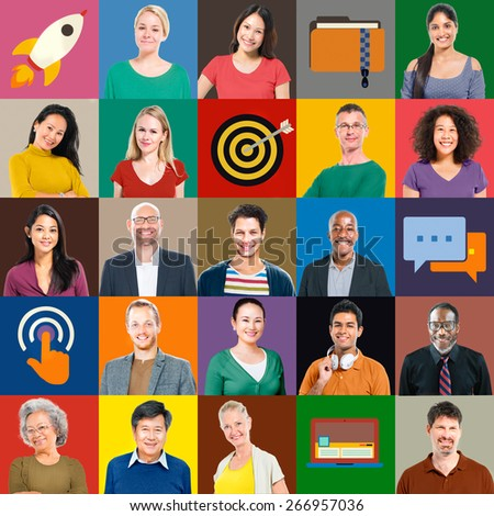 Multiethnic People Colorful Smiling Portrait Technology Concept - stock photo