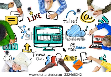 Multiethnic People Discussion Meeting Social Media Concept - stock photo
