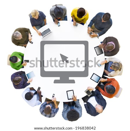 Multiethnic People Using Digital Devices with Computer Symbol - stock photo