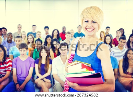 Multiethnic Young People in Lecture Room Diversity Education Society Concept