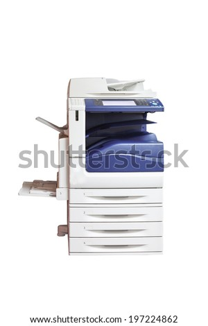 multifunction laser printer, scanner, xerox, isolated on white background - stock photo
