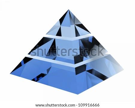 Multilevel blue crystal pyramid on a white background depicting multi level marketing - stock photo