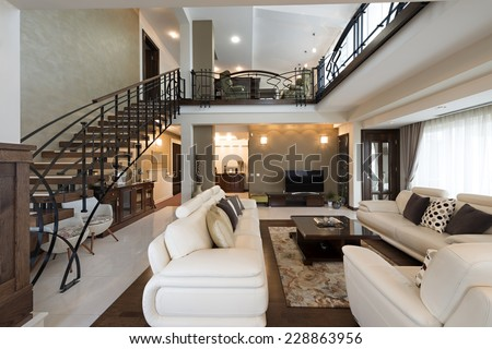 Multilevel living room interior - stock photo