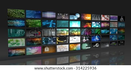Multimedia Background for Digital Network on the Internet - stock photo