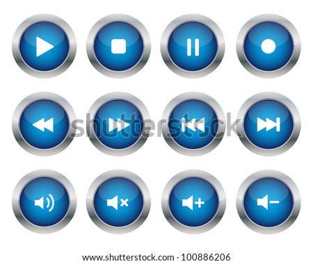 Multimedia buttons. Vector available. - stock photo