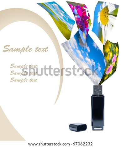 Multimedia concept with flash drive. Isolated on white. - stock photo