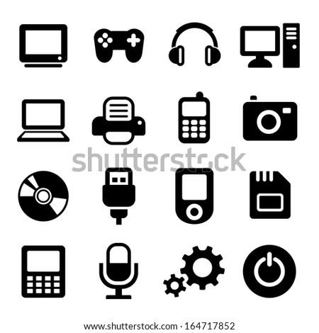 Multimedia gadget icons set - stock photo