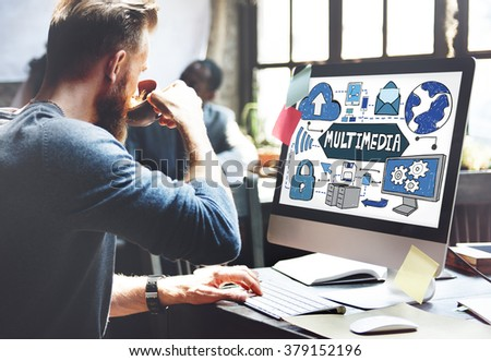 Multimedia Media Video Application Entertainment Concept - stock photo