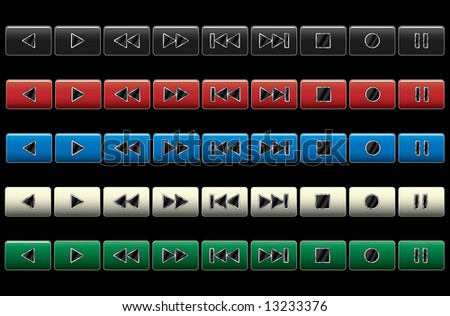 Multimedia navigation buttons. Raster illustration. Color variants.