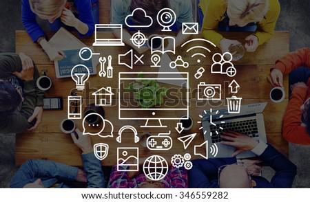 Multimedia Technology Electronic Menu Media Concept - stock photo