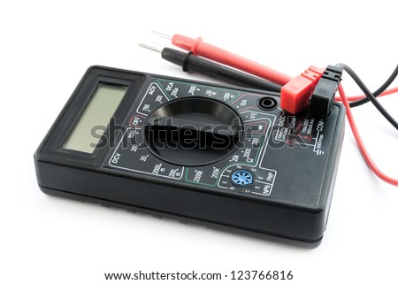Multimeter, tester on the white background. - stock photo