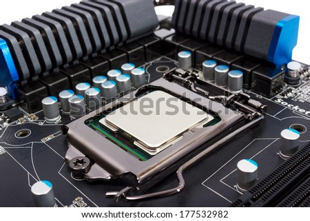Multiphase power system modern processor with heatsink and the CPU socket - stock photo