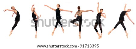 Multiple Ballet En Pointe Poses in Studio With White Background - stock photo