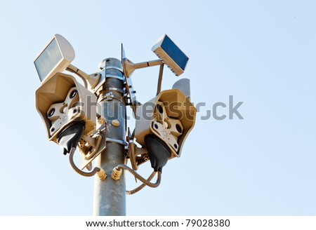 multiple camera viewing exterior videomonitoring - stock photo