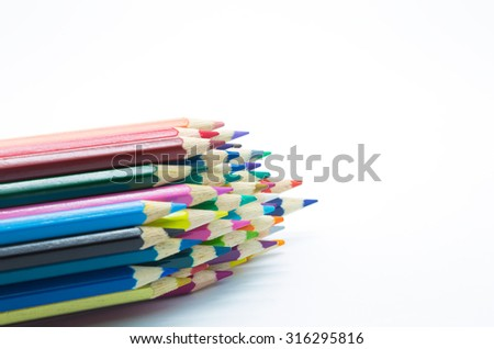Multiple colors wooden pencil on white background - stock photo