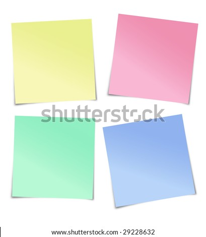 Multiple coloured adhesive notes, this is an illustration isolated on white - stock photo