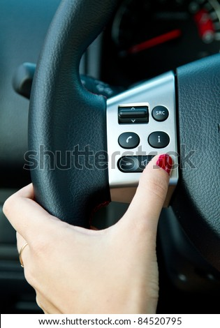 Multiple controls integrated in the wheel - stock photo