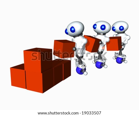 Multiple cute little robots moving boxes. - stock photo