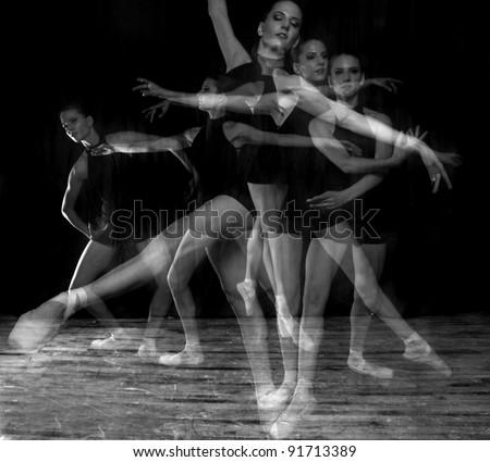 Multiple Exposure Ballerina in Studio On Pointe - stock photo