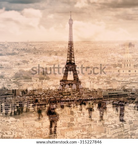 multiple exposure of different pictures of Paris, France, and the famous Eiffel Tower - stock photo