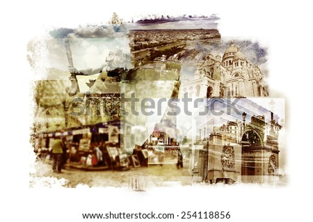 multiple exposures of different landmarks in Paris, France such as the Eiffel Tower, the Basilica of the Sacred Heart, some bridges above the Seine River or the Arc de Triomphe - stock photo