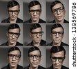 Multiple fashion male portraits - stock photo