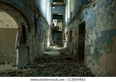 multiple ghost girl in an abandoned building - stock photo