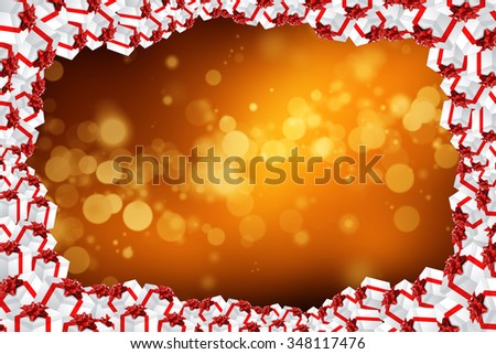 Multiple gifts on colorful background Xmas illustration