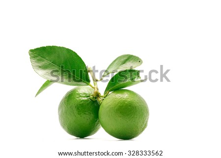 multiple  green limes , composition isolated over the white background