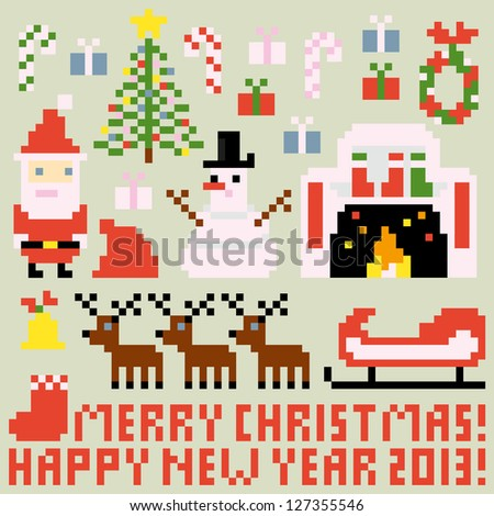 Multiple icons for Christmas theme in pixel art style, raster version - stock photo