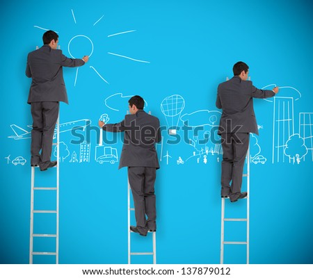 Multiple image of businessman drawing a city on a giant blue wall