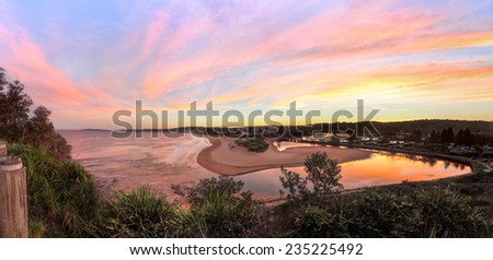 Multiple image stitched panorama from Narrabeen Head, with views south along Narrabeen beach and Narrabeen lakes entrance.Nth Sydney Australia - stock photo