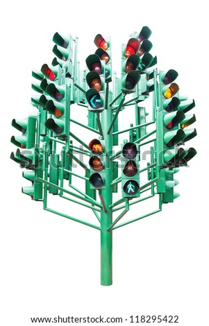 Multiple large traffic lights post made from green metal, isolated in white
