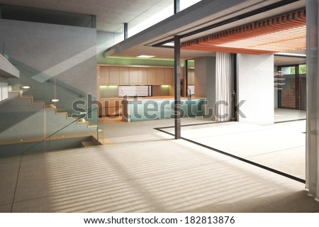 Multiple level empty interior room of a residence with open air patio - stock photo