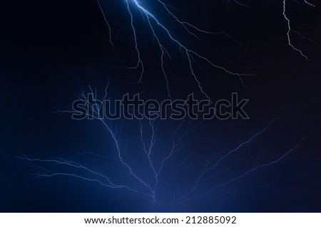 Multiple lightning bolts fill the night sky over the American Midwest during a summer thunderstorm. - stock photo