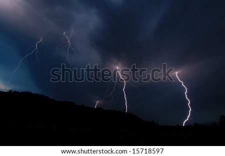Multiple lightning strikes. - stock photo