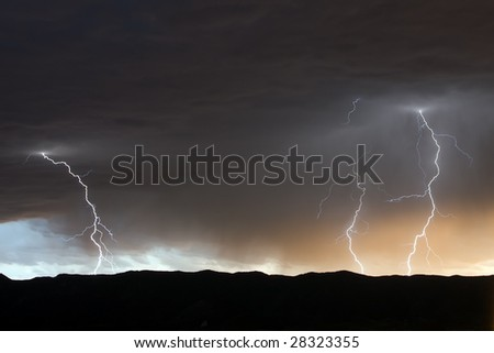 Multiple Lightning Strikes - stock photo