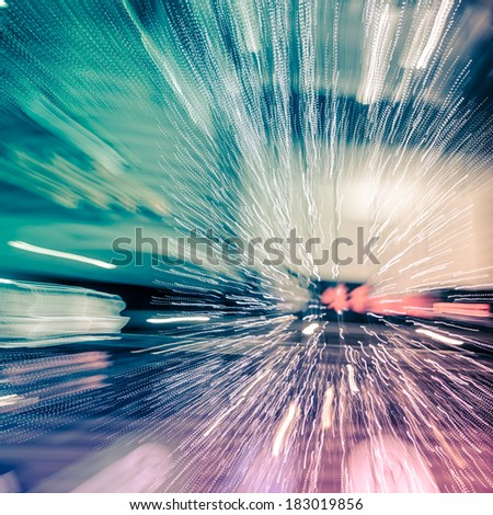 Multiple lights blur zoom abstract background - stock photo