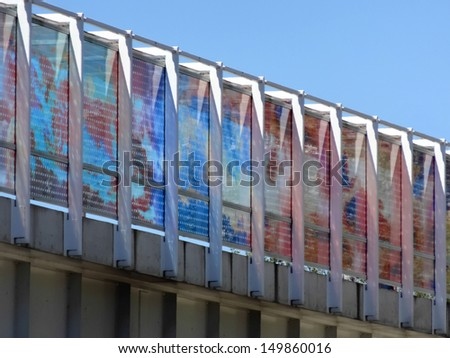 Multiple reflections on a building facade - stock photo
