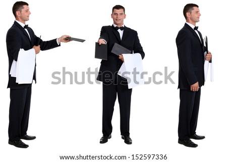 Multiple shot of waiter - stock photo