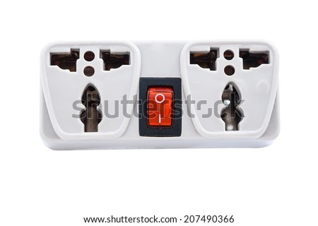 Multiple socket extension cord with switch isolated on white with clipping path - stock photo