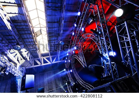 Multiple spotlights on a outdoor concert lighting rig & Stage Lighting Rig Stock Images Royalty-Free Images u0026 Vectors ... azcodes.com